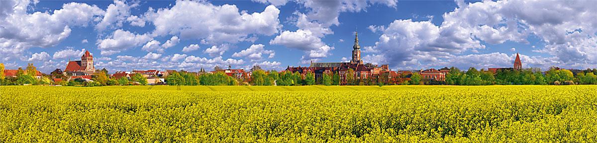 Greifswald Karte.Panorama Karte Greifswald Silhouette Im Rapsfeld Panorama Grußkarten